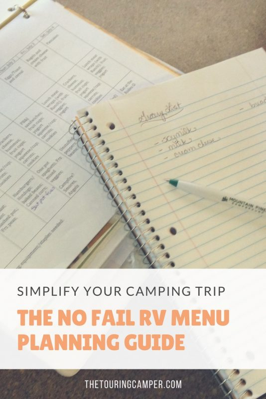 The no fail RV menu planning guide - The Touring Camper